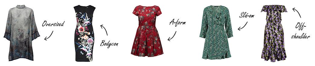 Blomstrede kjoler i forskellige modeller med tekst