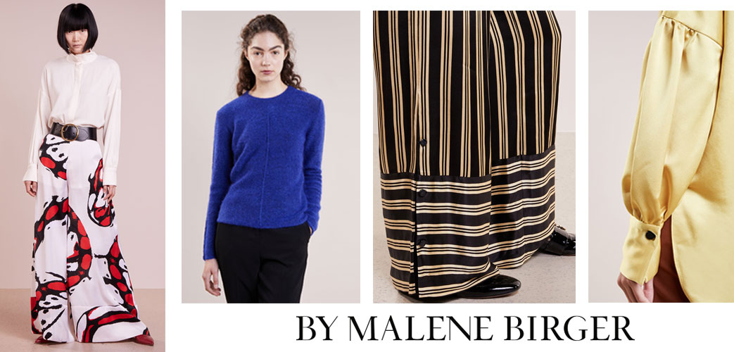 Modeller iklædt By Malene Birger tøj i klare farver og mønstre