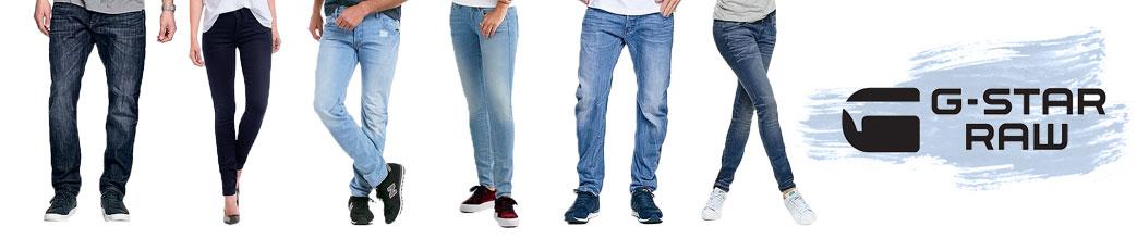 Herre og dame modeller i jeans samt G-Star logo