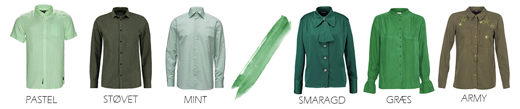 Grønne skjorter til mænd og kvinder i forskellige grønne nuancer