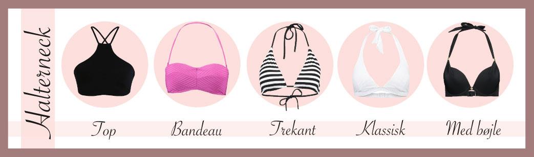 Halterneck bikinitoppe i forskellige modeller