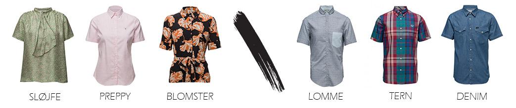 Kortærmede skjorter til herrer og damer i forskellige styles