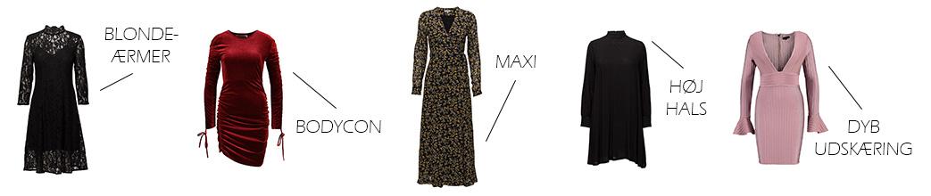 Langærmede kjoler med forskellige detaljer samt tekst
