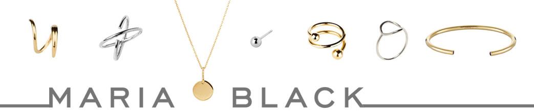 Smykker i sølv og guld og Maria Black logo