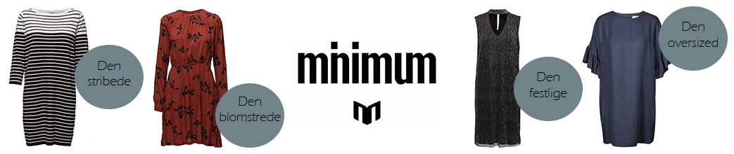 Fire kjoler og minimum logo samt bobler med tekst