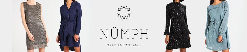 Kvinder i forskellige kjoler samt Nümph logo i midten