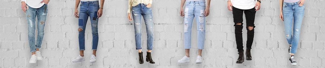 Mænd og kvinder i ripped jeans