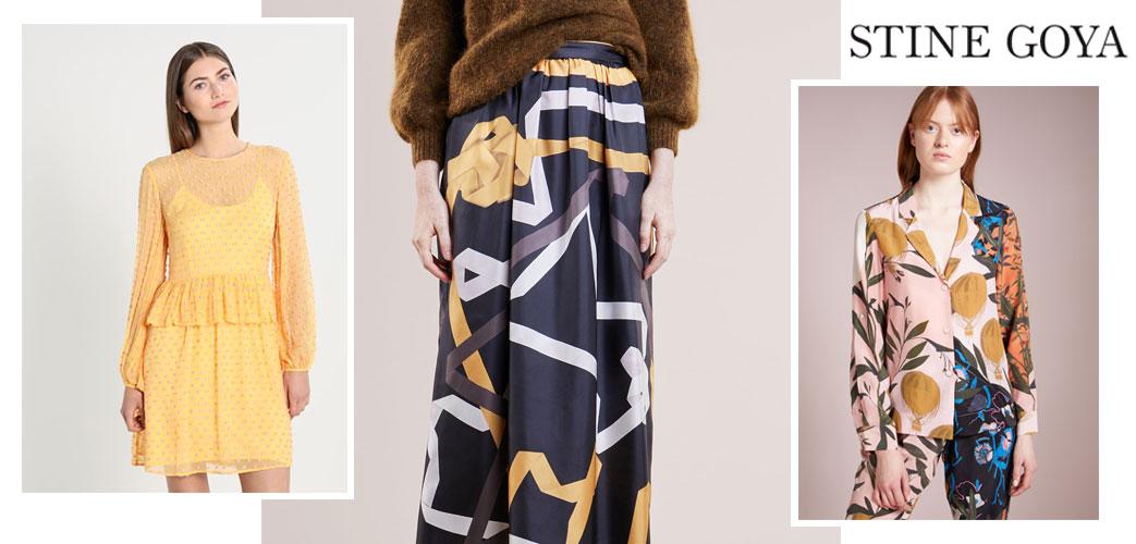 Kvinder iført Stine Goya kjole, nederdel og jakkesæt