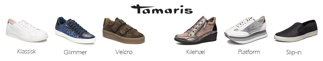 Forskellige typer sneakers med tekst og Tamaris logo