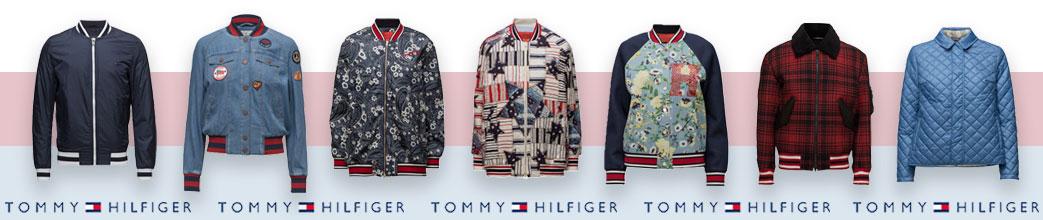 Forskellige jakker samt Tommy Hilfiger logoer