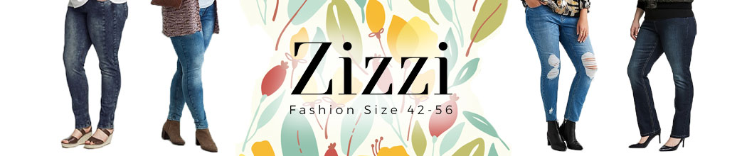Plus size kvinder i jeans samt Zizzi logo