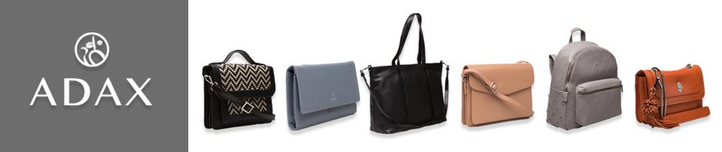 ADAX logo og forskellige tasker på hvid baggrund