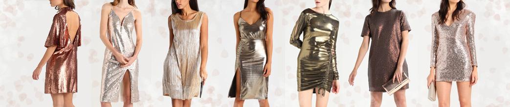 Kvinder i guld kjoler med forskellige snit og guldnuancer