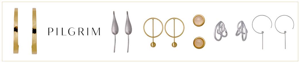 Øreringe i sølv og guld fra Pilgrim