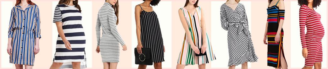 Kvinder i forskellige stribede kjoler