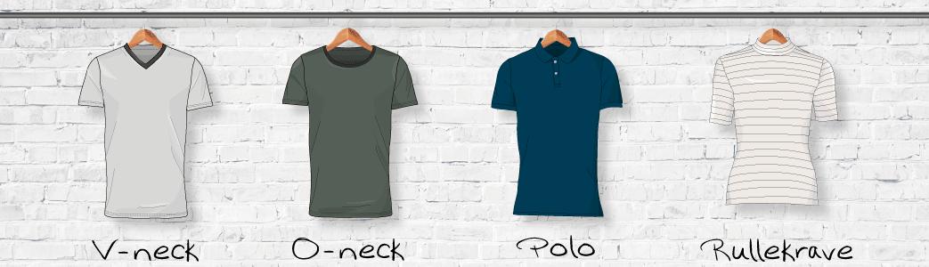 T-shirts med V-neck, O-neck, polo og rullekrave