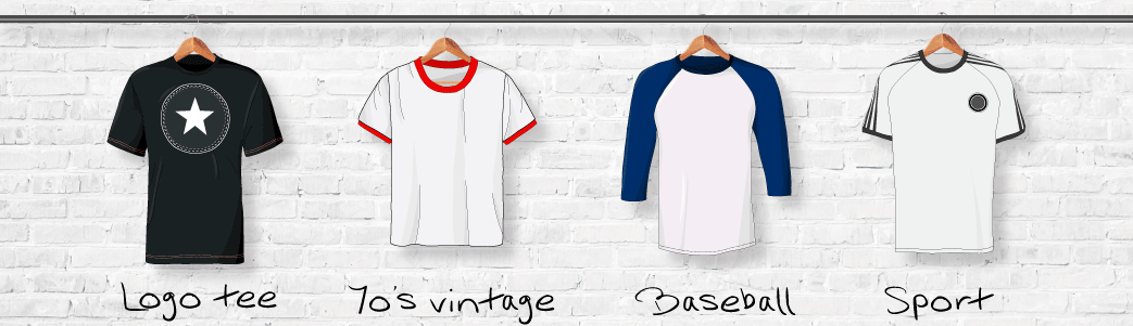 T-shirts med logo, i vintage look, baseball shirt og en sportstrøje