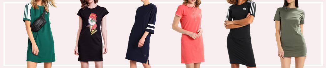 Kvinder iklædt T-shirt-kjoler i forskellige farver