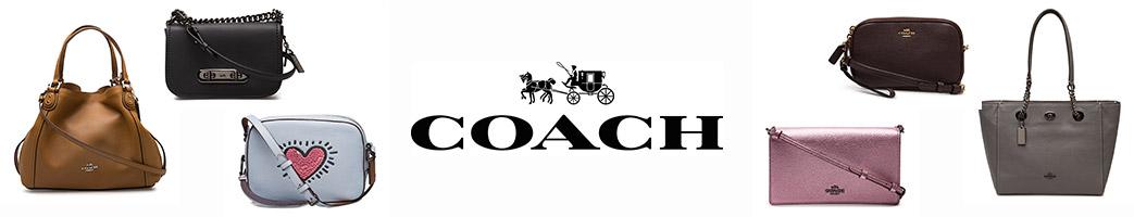 Tasker i forskellige farver og størrelser samt Coach logo