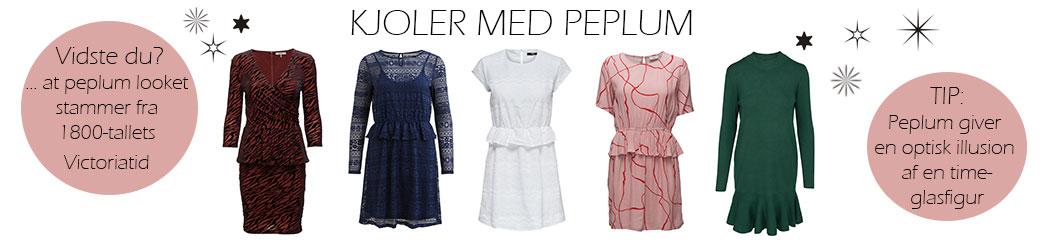 Peplum kjoler i forskellige designs og lyserøde faktabobler