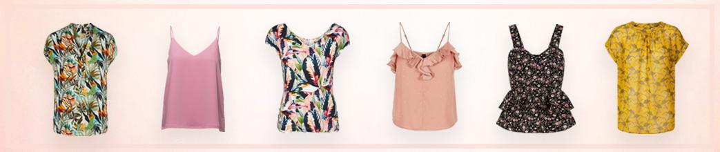 Forskellige sommertoppe i feminine farver og prints