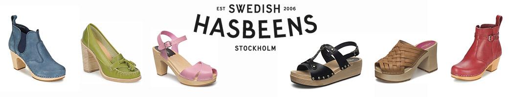 Forskellige sko og Swedish Hasbeens logo
