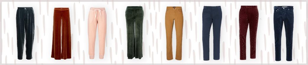 Fløjlsbukser i forskellige farver og snit
