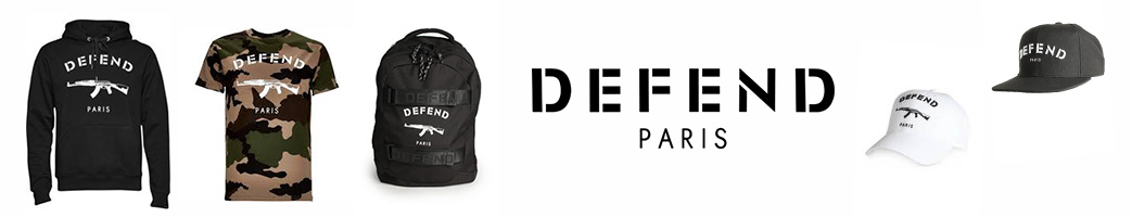 Defend Paris logo og tøj og accessories