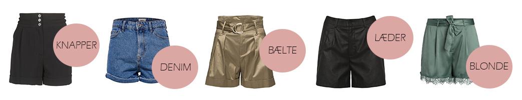 Højtajede shorts med forskellige detaljer